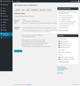 Online Users Notification WordPress Plugin Screenshot